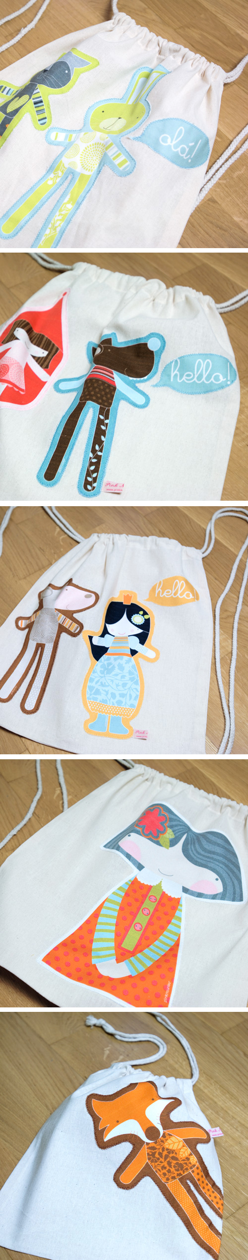 children backpacks and string bags