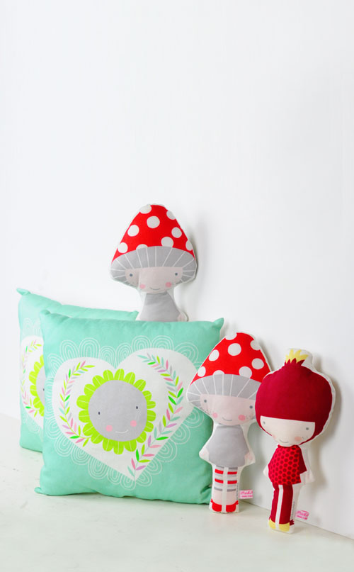 mint heart kids pillow and veggie dolls by PinkNounou
