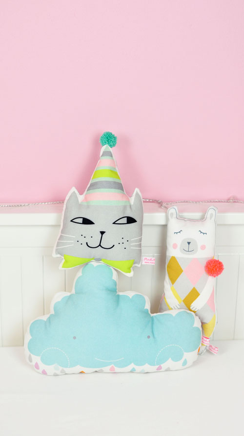mini cat pillow cloud pillow and polar bear doll by PinkNounou