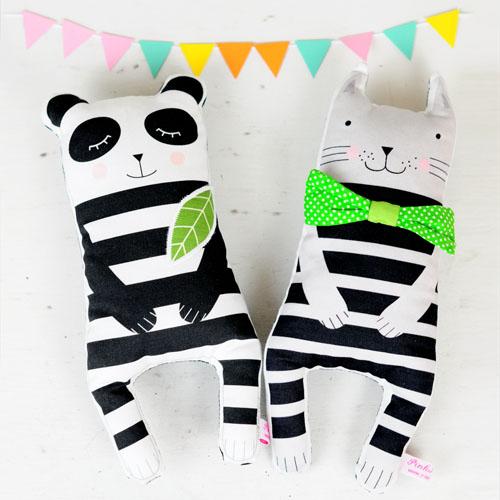 panda and cat dolls by PinkNounou