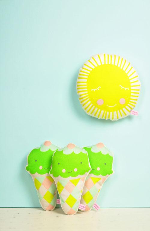 ice cream rattles and sun mini pillow by PinkNounou