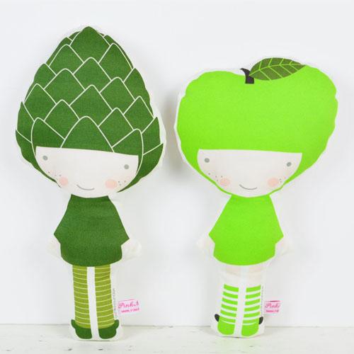 Apple and Artichoke fruit doll by PinkNounou -1