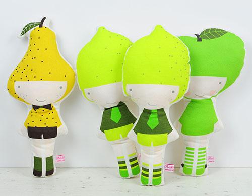 Pear Lemon & Apple dolls by PinkNounou