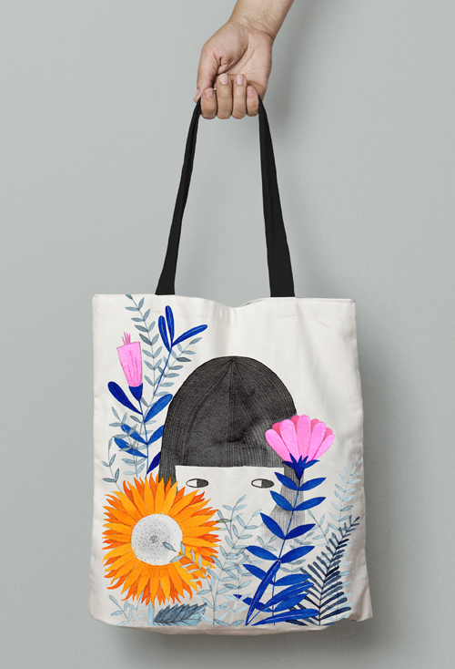 watercolor illustration for tote bag by PinkNounou 1
