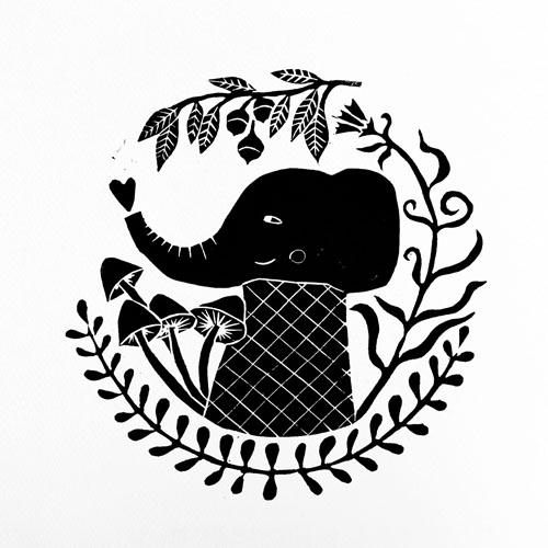 block print illustration by PinkNounou 2B